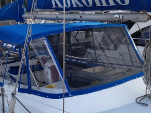 Bimini with zip in screen panel